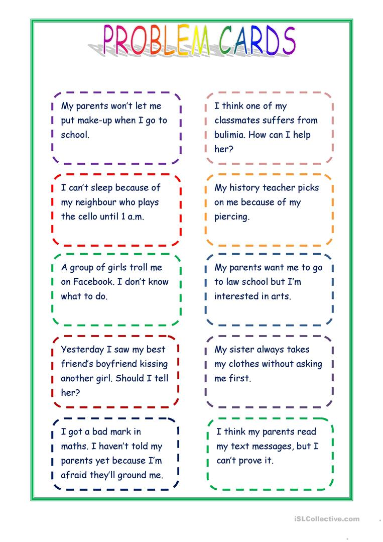 photograph relating to How Big is My Problem Printable referred to as Offering guidance - condition playing cards - English ESL Worksheets