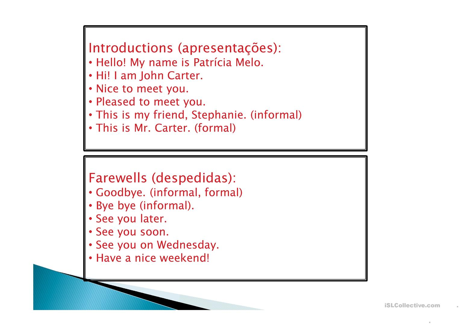 Greetings Introductions Farewells Worksheet Free Esl Projectable