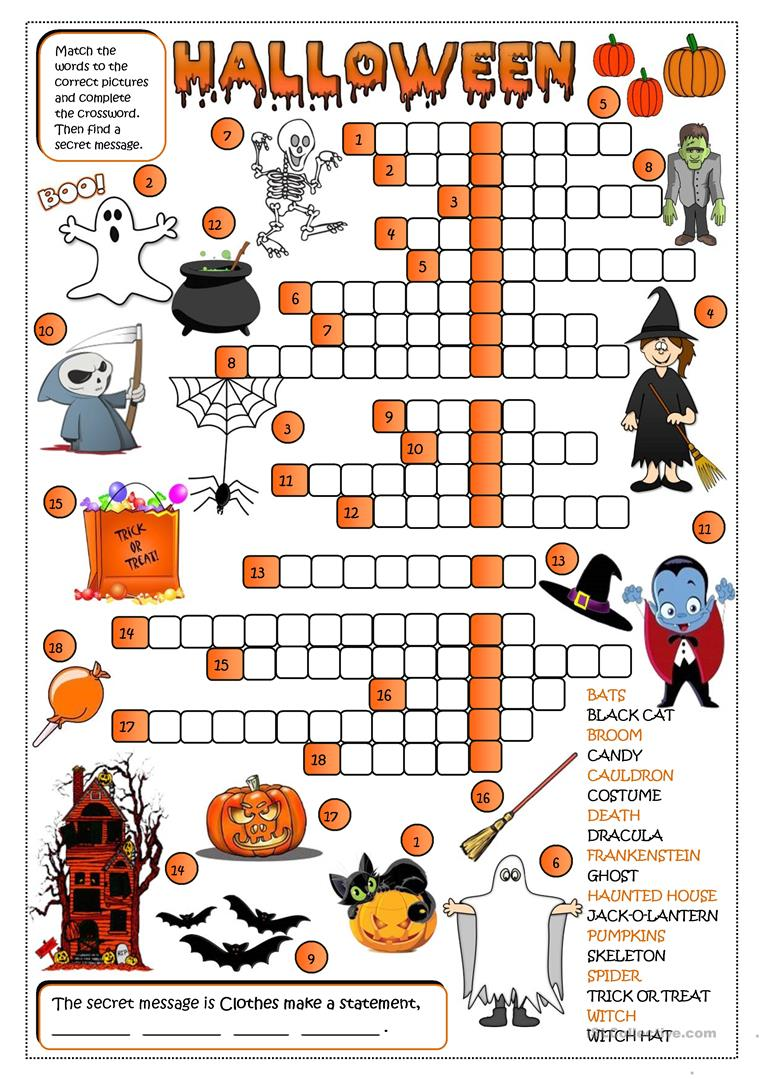 photo relating to Halloween Crossword Puzzles Printable identify Halloween - crossword - English ESL Worksheets