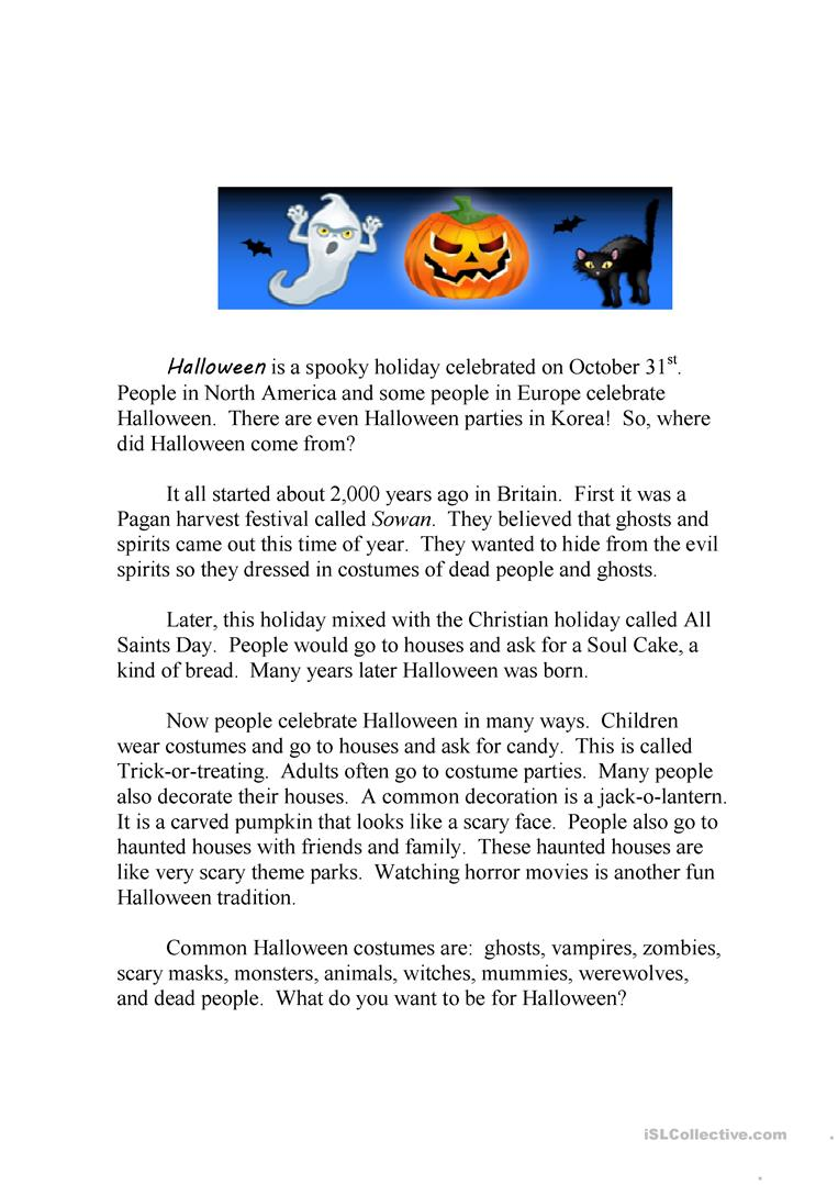 halloween running dictation story and quiz worksheet free esl halloween running dictation story and quiz worksheet free esl - Where Did The Holiday Halloween Come From