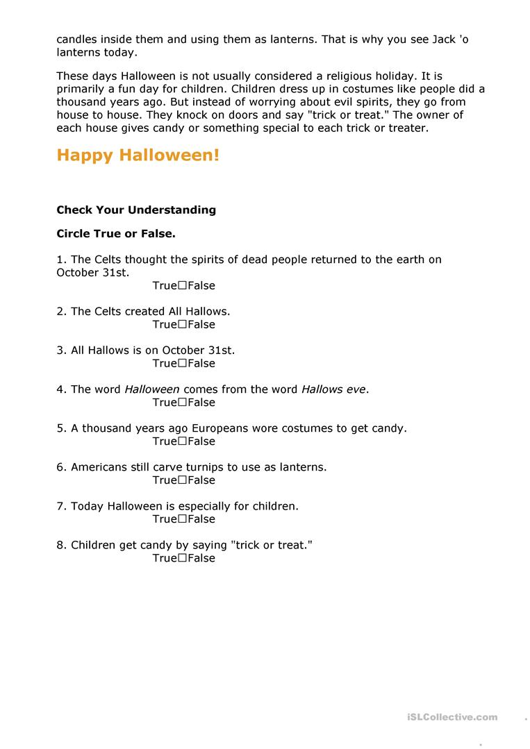 History of Halloween worksheet Free ESL printable worksheets – Halloween Reading Worksheets