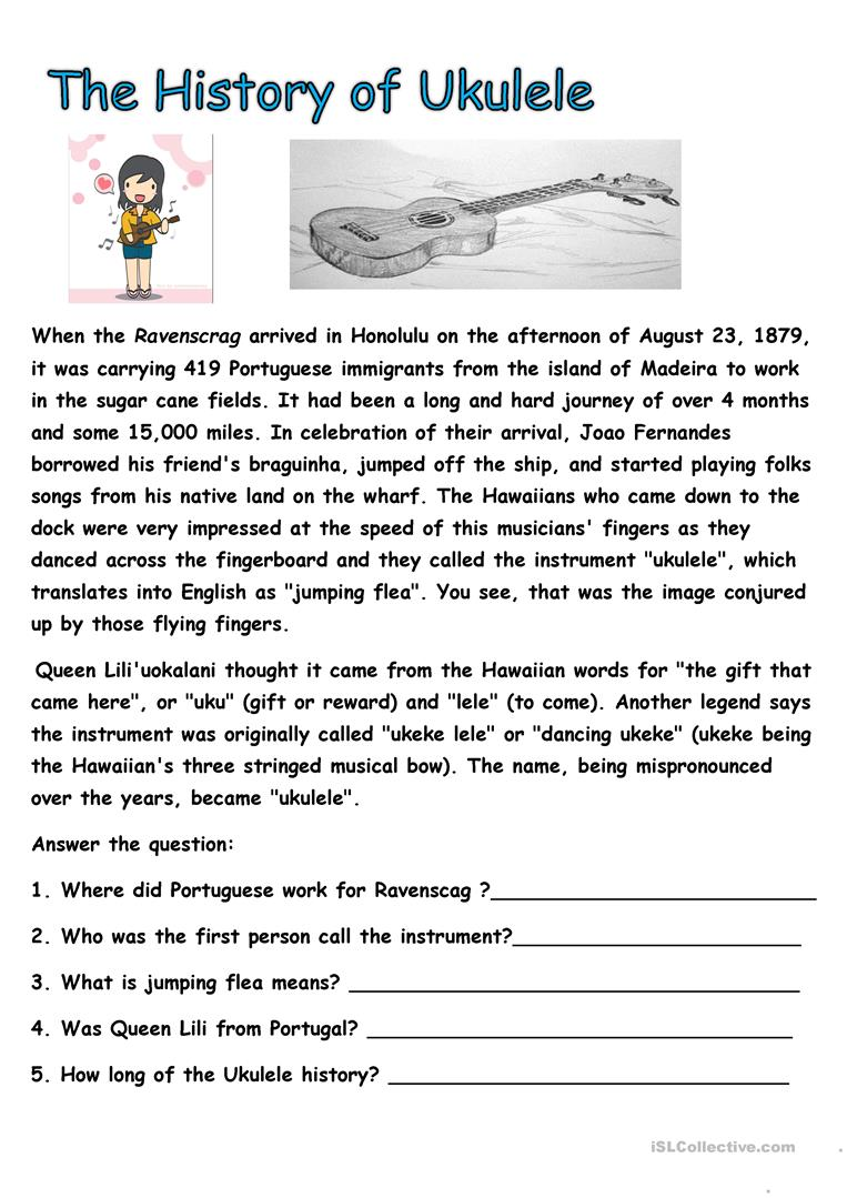 Worksheets Printable History Worksheets history of ukulele worksheet free esl printable worksheets made by full screen