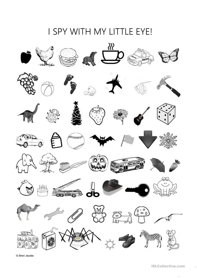 photograph about I Spy Printable Worksheets titled I Spy With My Minimal Eye - English ESL Worksheets