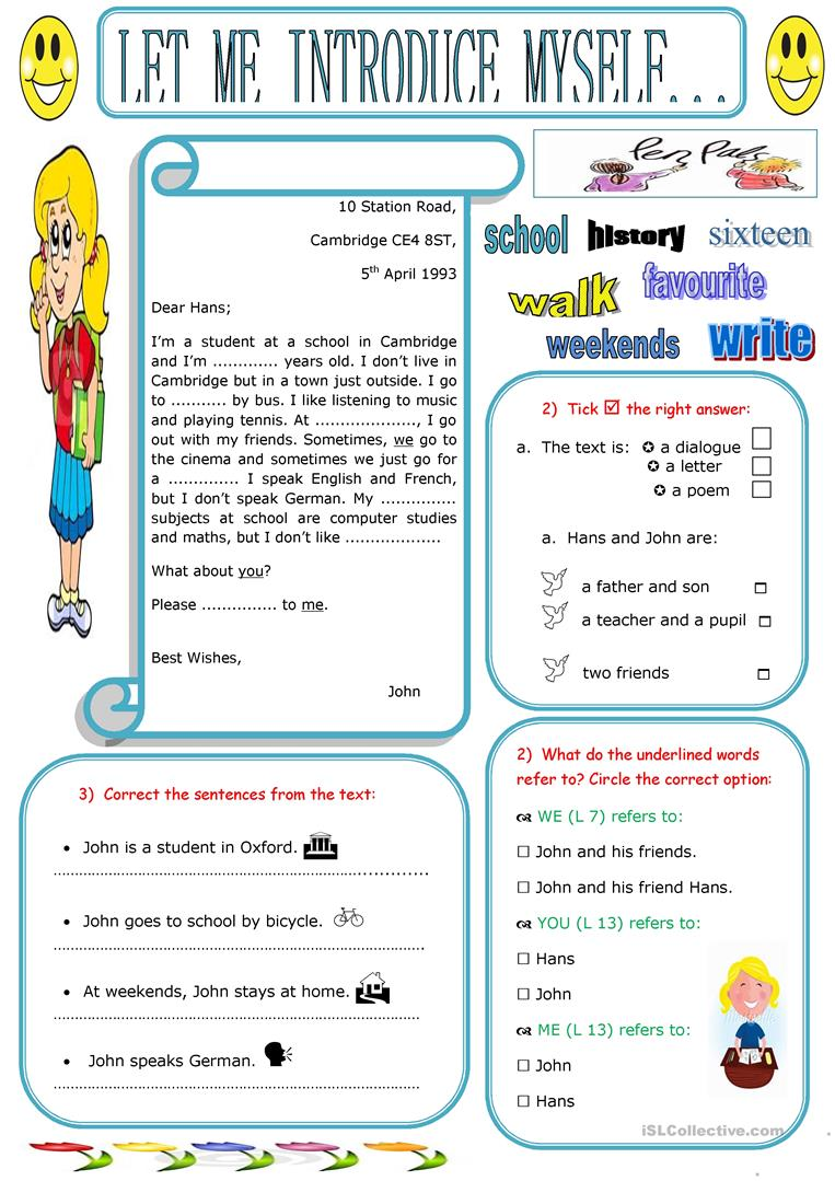write about yourself esl worksheets for children