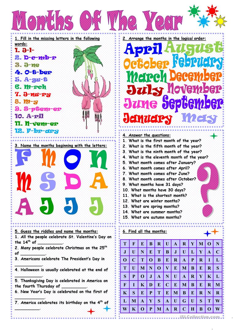 54 Free Esl Months Of The Year Worksheets