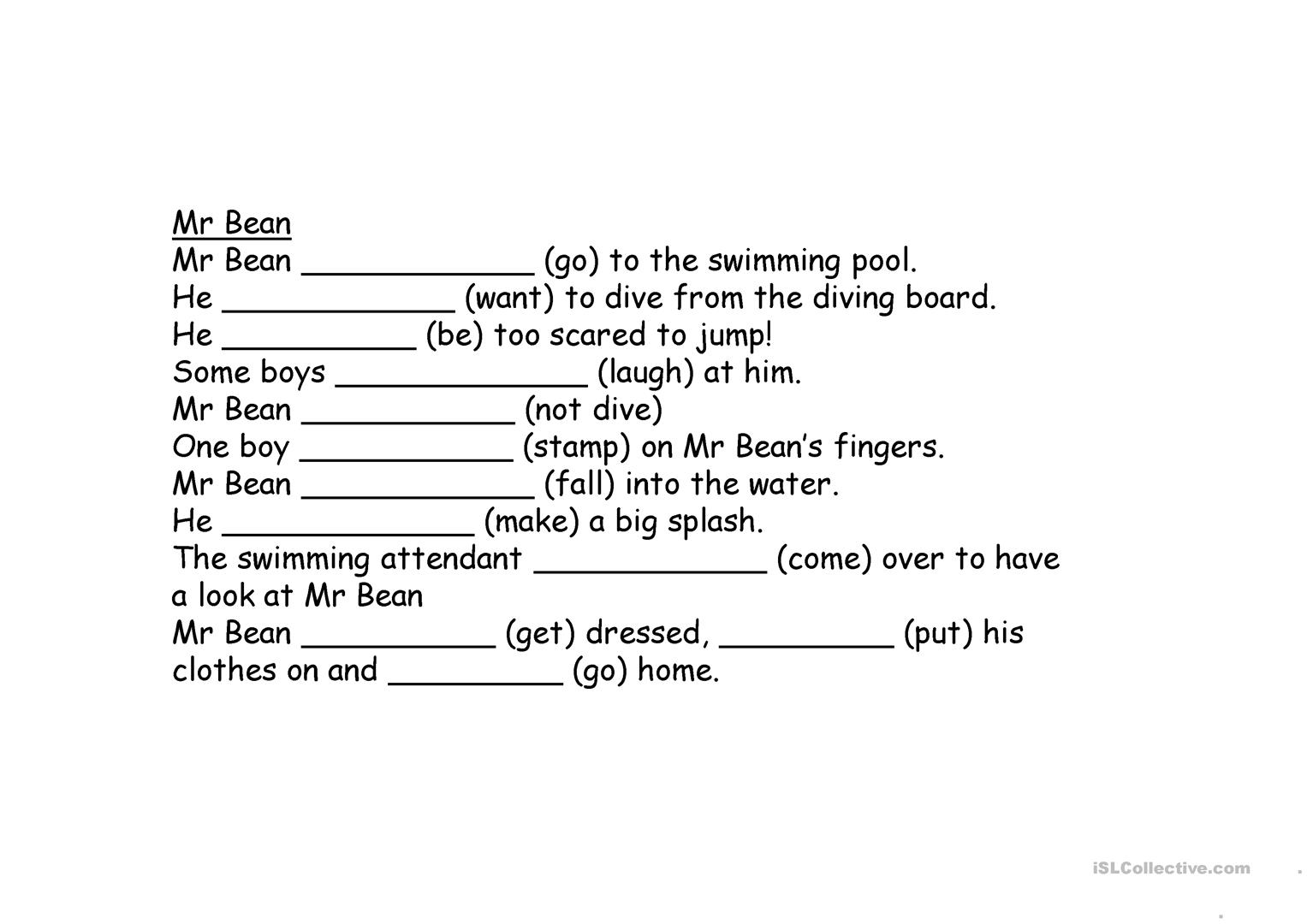 Mr Bean At The Swimming Pool Worksheet Free Esl Projectable Worksheets Made By Teachers