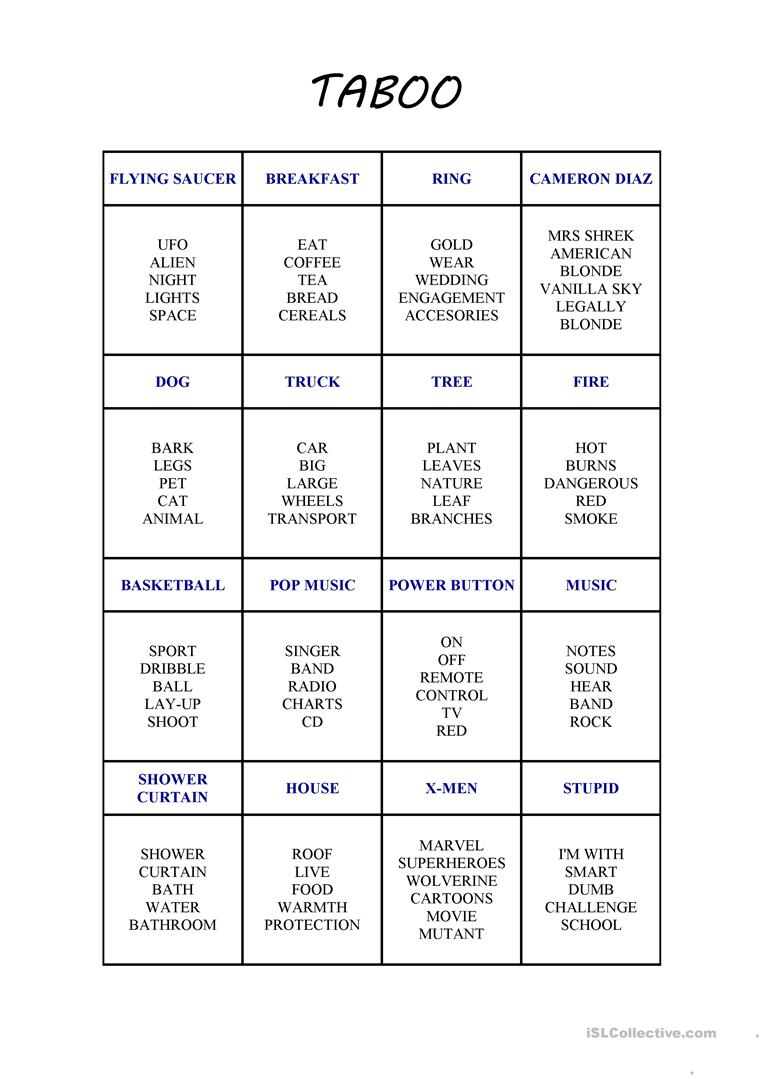 photograph regarding Taboo Game Cards Printable called Contemporary Taboo Card Activity - English ESL Worksheets
