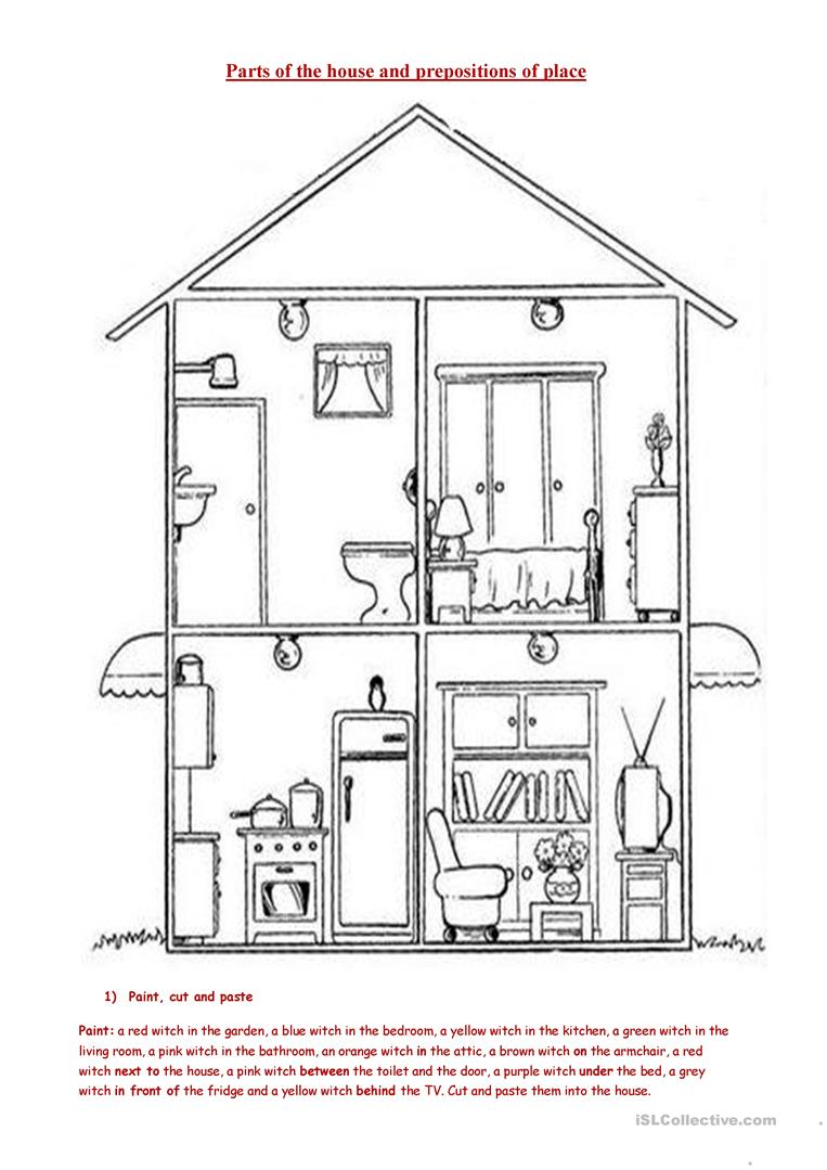 House Room Drawings: Parts Of The House And Prepositions Worksheet