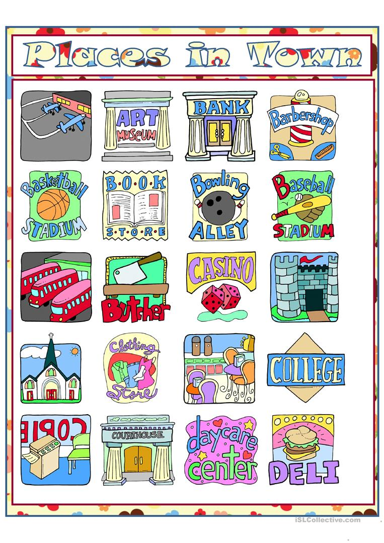 places in town part 1 worksheet free esl printable worksheets made by teachers. Black Bedroom Furniture Sets. Home Design Ideas