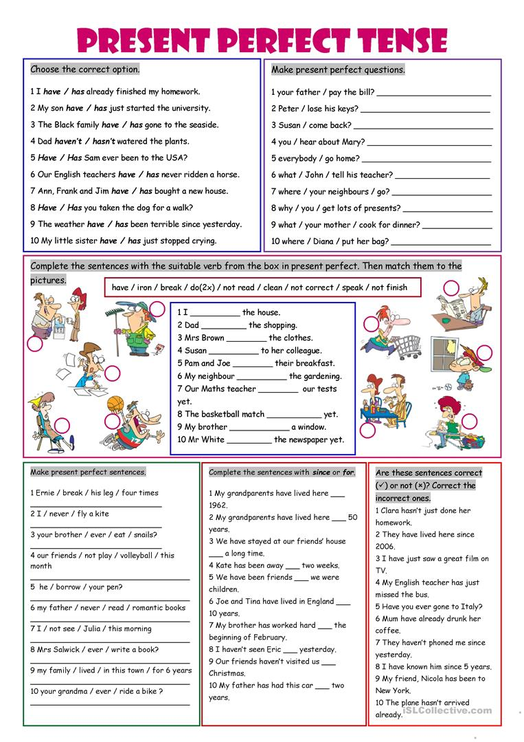 worksheet Past Simple Or Present Perfect Worksheet 735 free esl present perfect worksheets tense worksheets