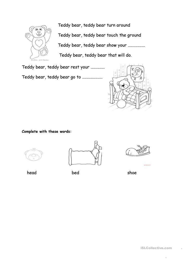 worksheet Teddy Bear Worksheets 8 free esl teddy bear worksheets turn around