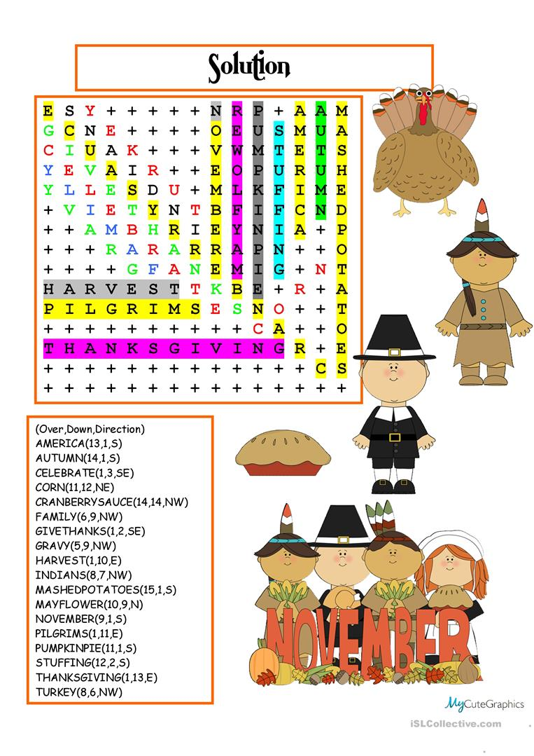 photograph about Thanksgiving Word Search Printable identified as Thanksgiving Wordsearch with Mystery - English ESL Worksheets