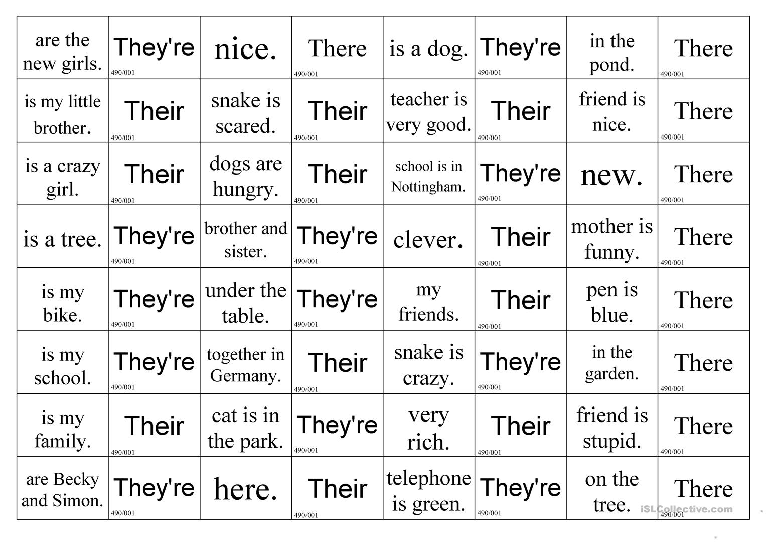 they're - there or their - English ESL Worksheets
