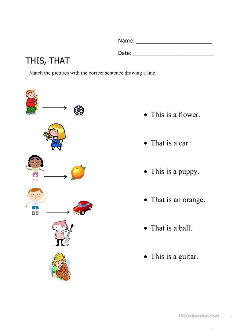 This That Matching Exercise Worksheet Free Esl Printable