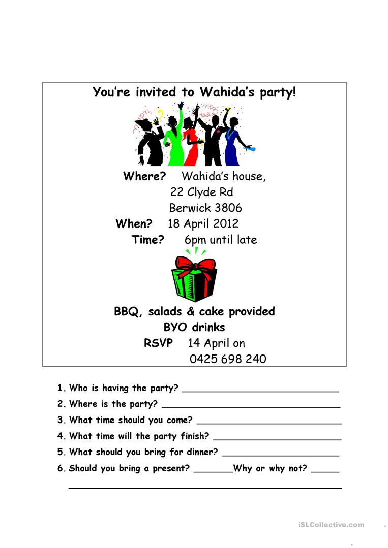 FREE ESL Invitation Worksheets - Contoh soal invitation birthday party