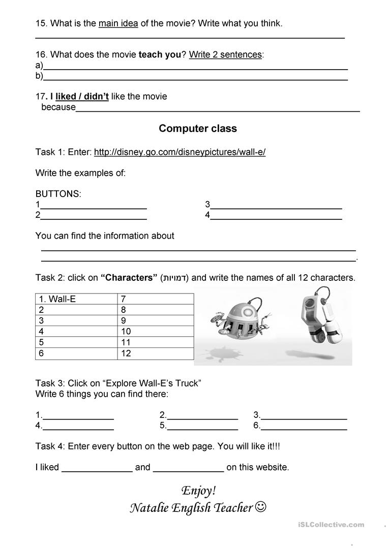 Walle- The movie worksheet - Free ESL printable worksheets made by ...