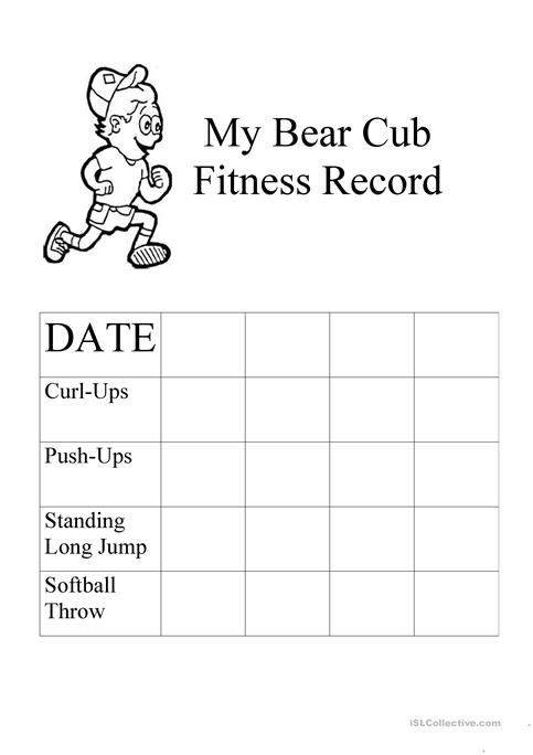 photograph relating to Cub Scout Printable Activities named CubScout Physical fitness worksheet - Totally free ESL printable worksheets