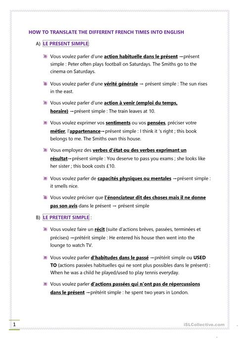 How To Translate Tenses From French To English Worksheet Free Esl