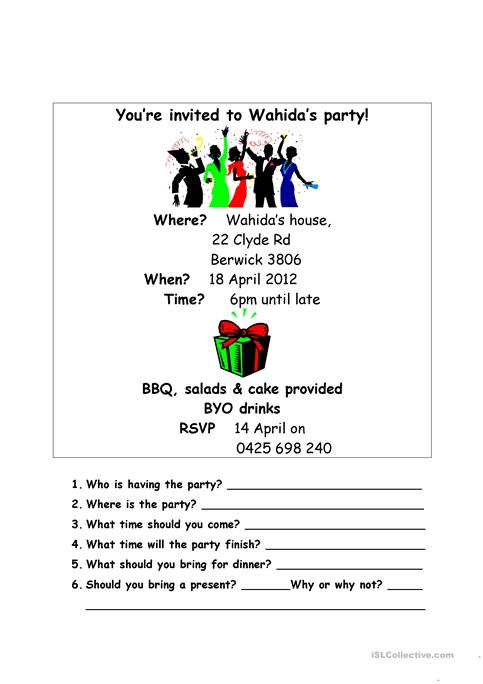 Wahidas birthday party invitation worksheet free esl printable wahidas birthday party invitation stopboris Image collections