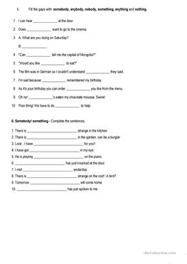41 FREE ESL some and any worksheets