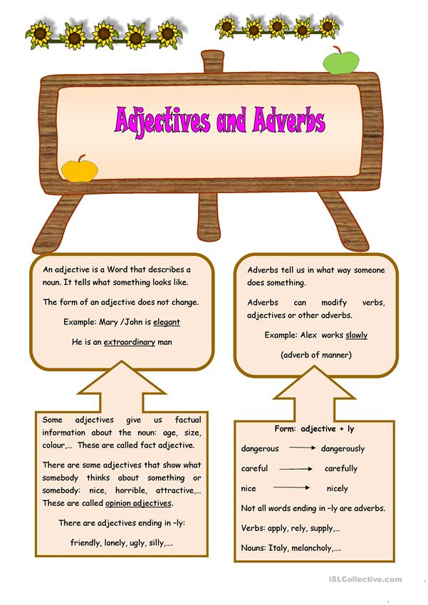 ADJECTIVES AND ADVERBS (2 pages)