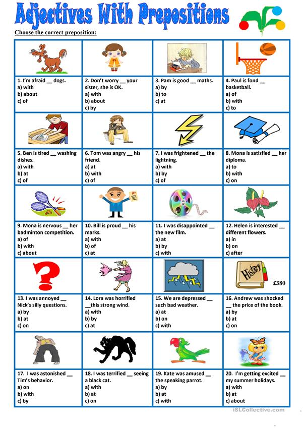 Adjectives with prepositions