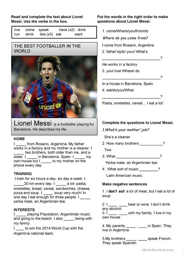 Beginner Messi- Present Simple
