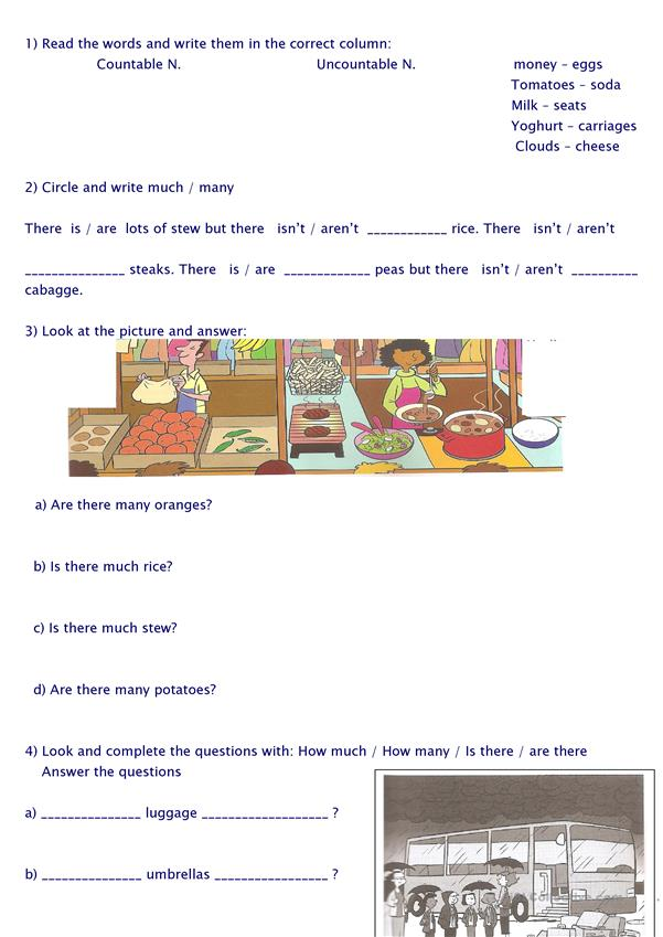 countable/uncountable nouns/how much/how many
