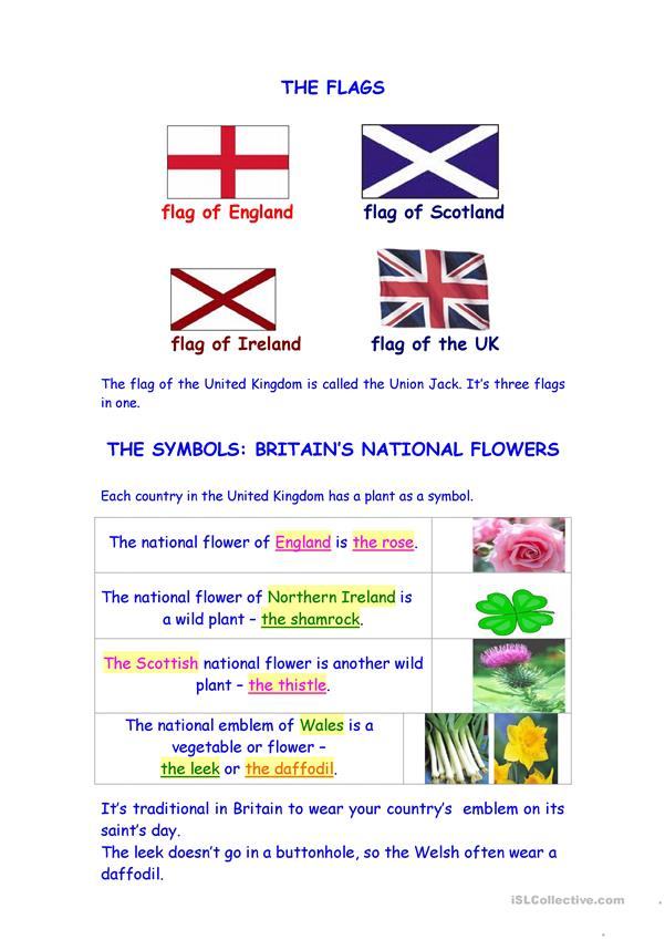 FLOWERS AND FLAGS OF GREAT BRITAIN