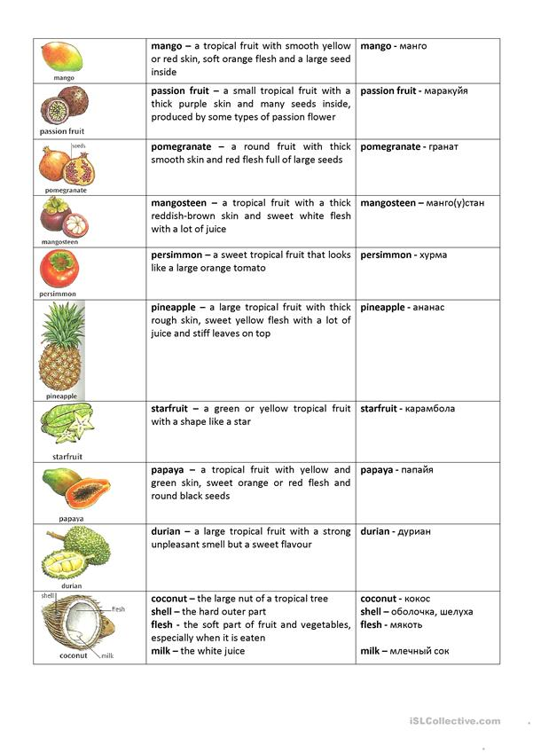 Food (names of fruit and vegetables)