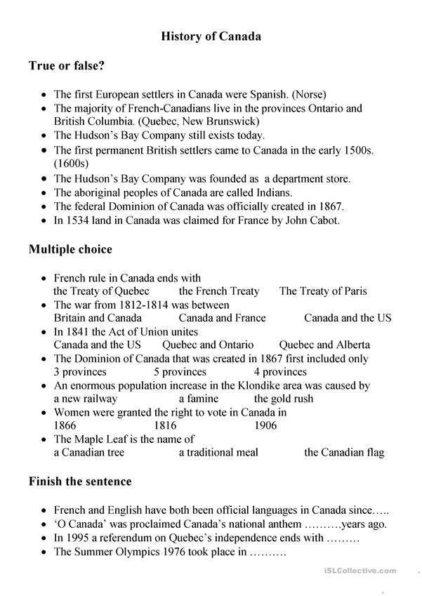 History of Canada Quiz and key