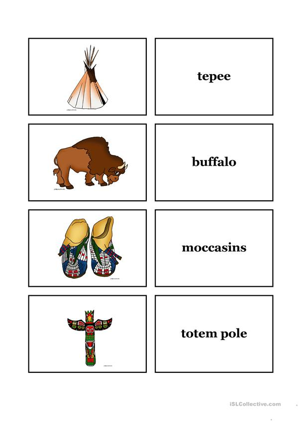 Indians Word and Picture Cards