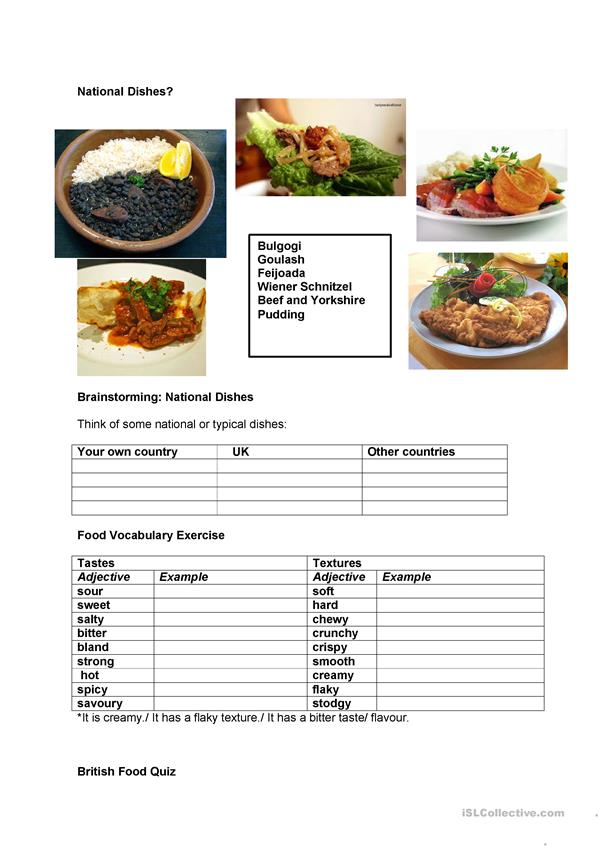 National dishes (British Food)