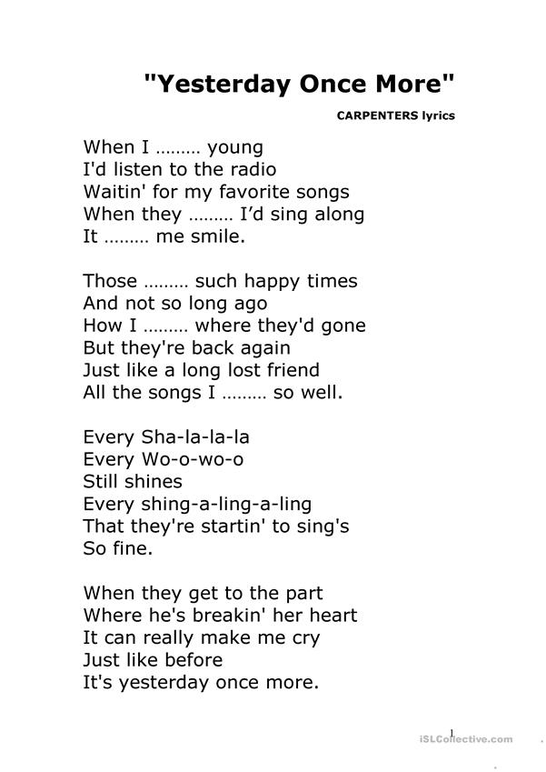Past Tense Test Song