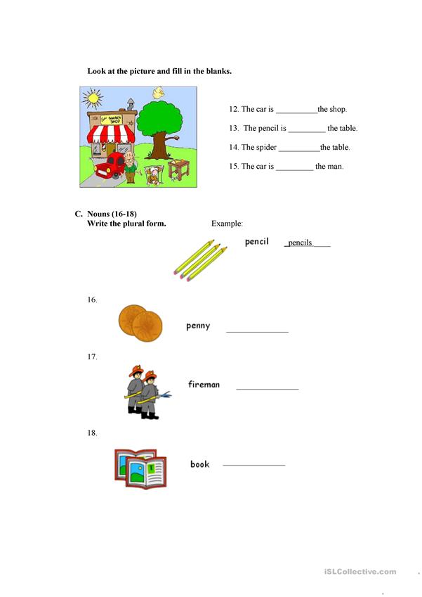 Prepositions, adjectives and nouns