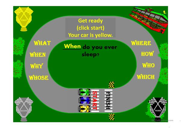 Question Word Go Kart Race Game Animated