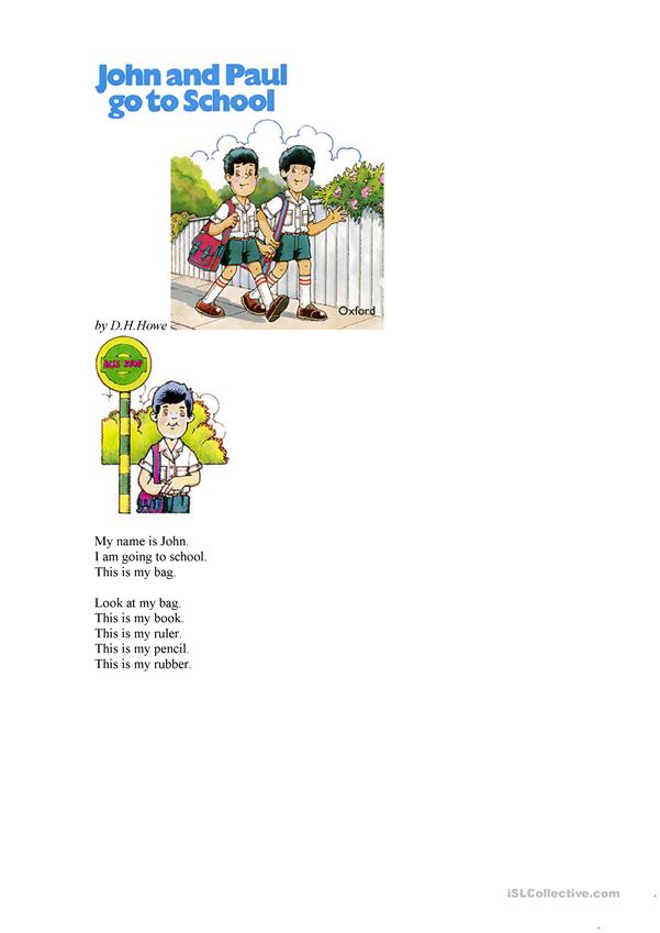 reading John and Paul go to school story