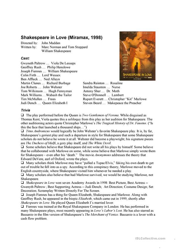 Shakespeare in Love Movie Information Sheet and Quiz