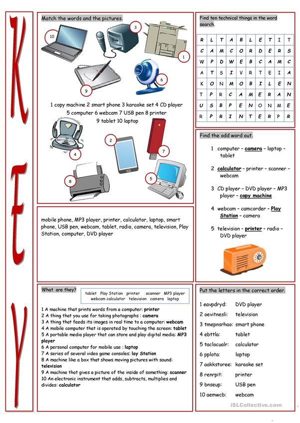 Technical Things Vocabulary Exercises