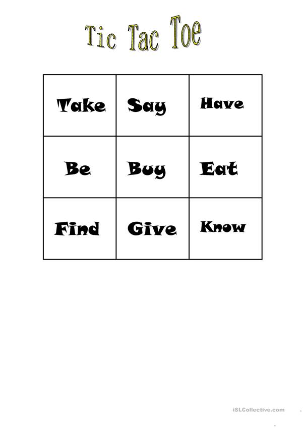 Tic Tac Toe Simple Past and Continuous