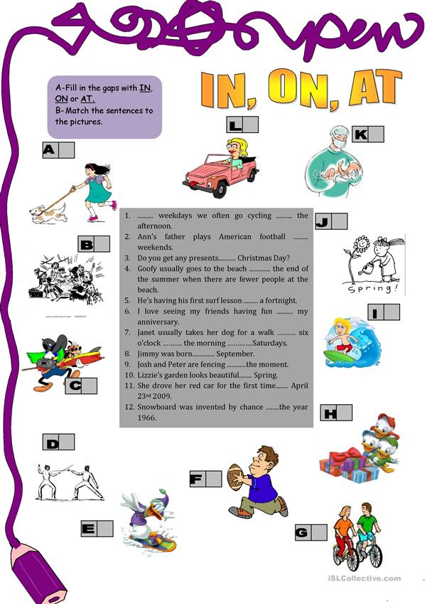 Time prepositions: in. on, at
