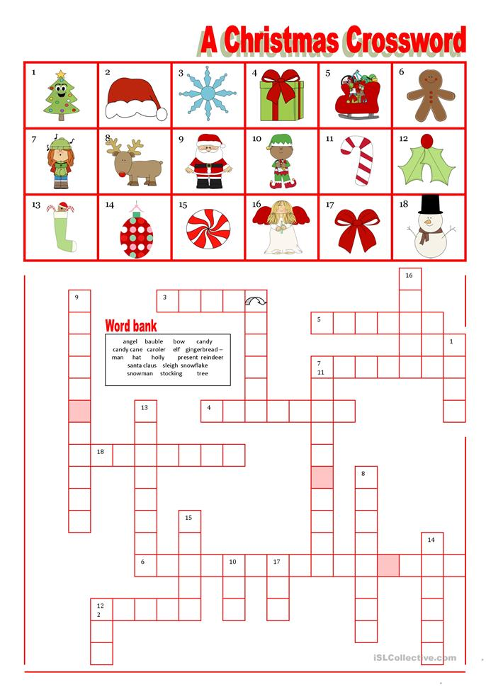 Christmas Crossword with word bank worksheet - Free ESL printable ...