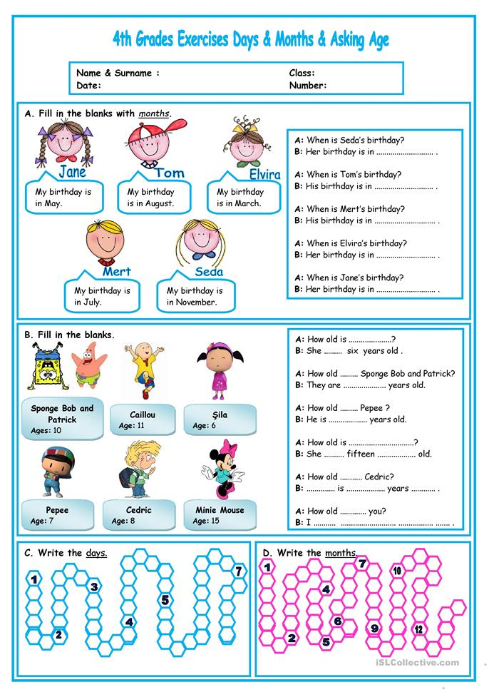 asking age&months&days - ESL worksheets