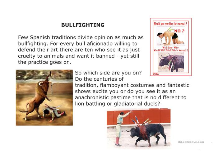 1 FREE ESL Bullfigthing discussion worksheets