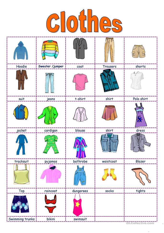 Clothes Accessories: Clothes And Accessories Worksheet