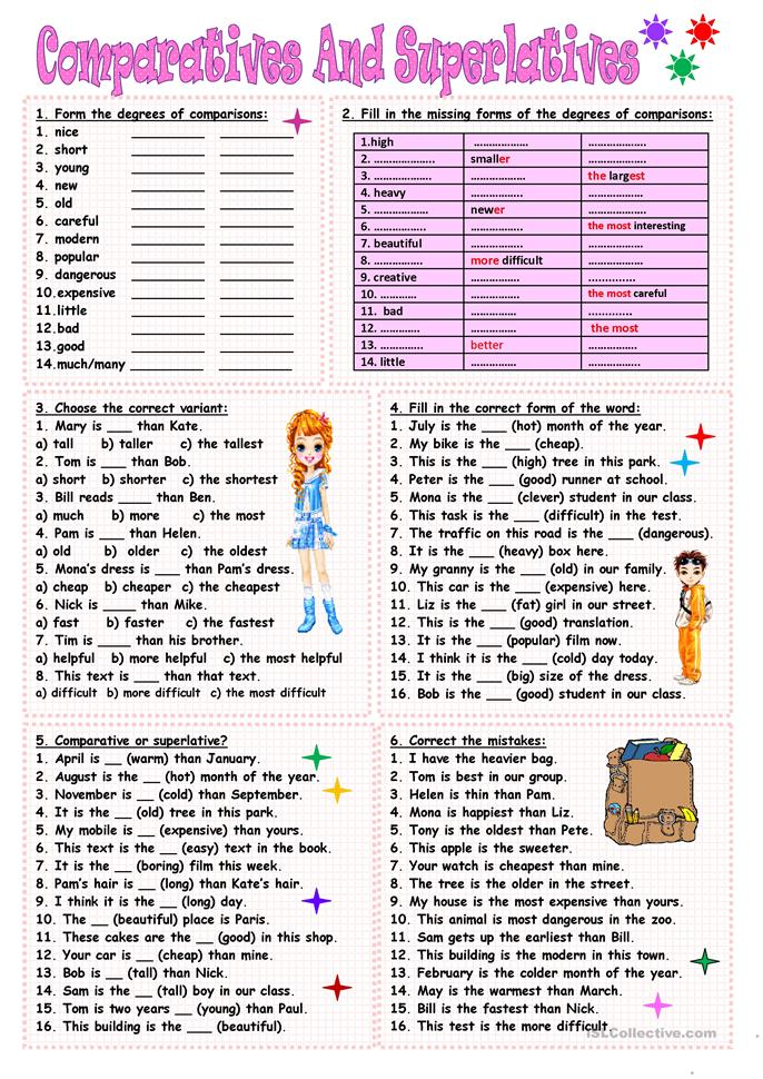 English In Italian: Comparatives And Superlatives Worksheet