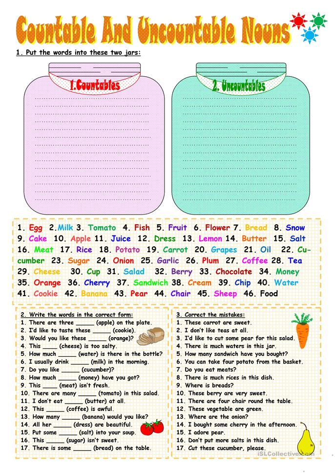 Food Countable And Uncountable Nouns Worksheet Pdf - Printable ...
