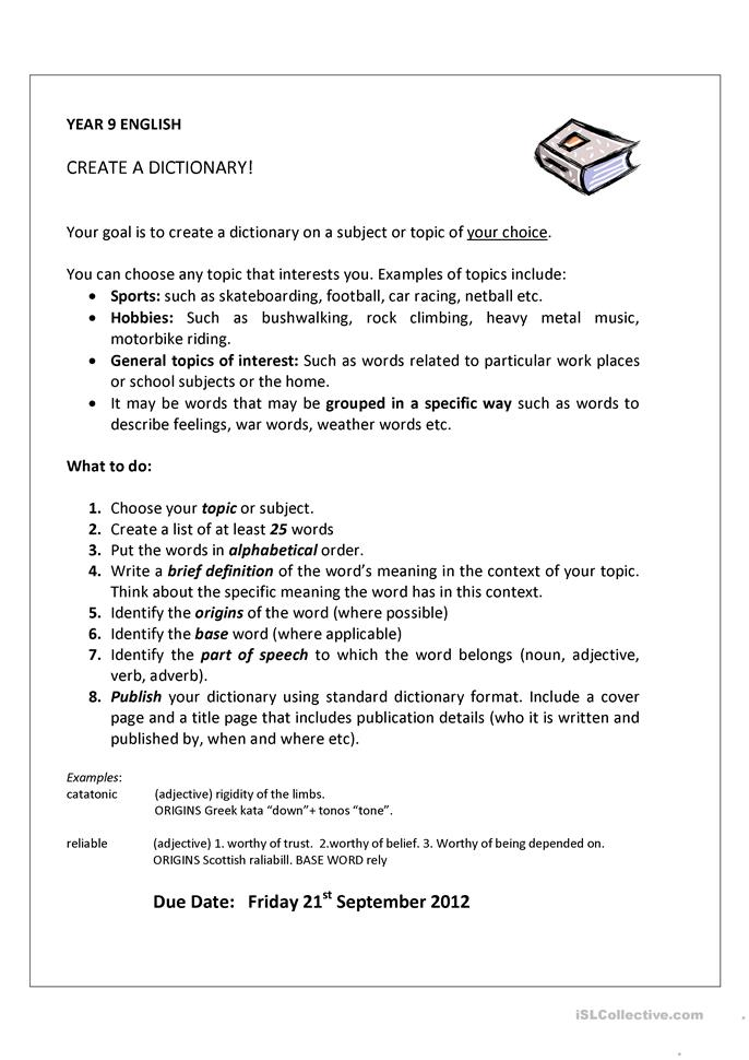 English In Italian: Create A Dictionary Worksheet