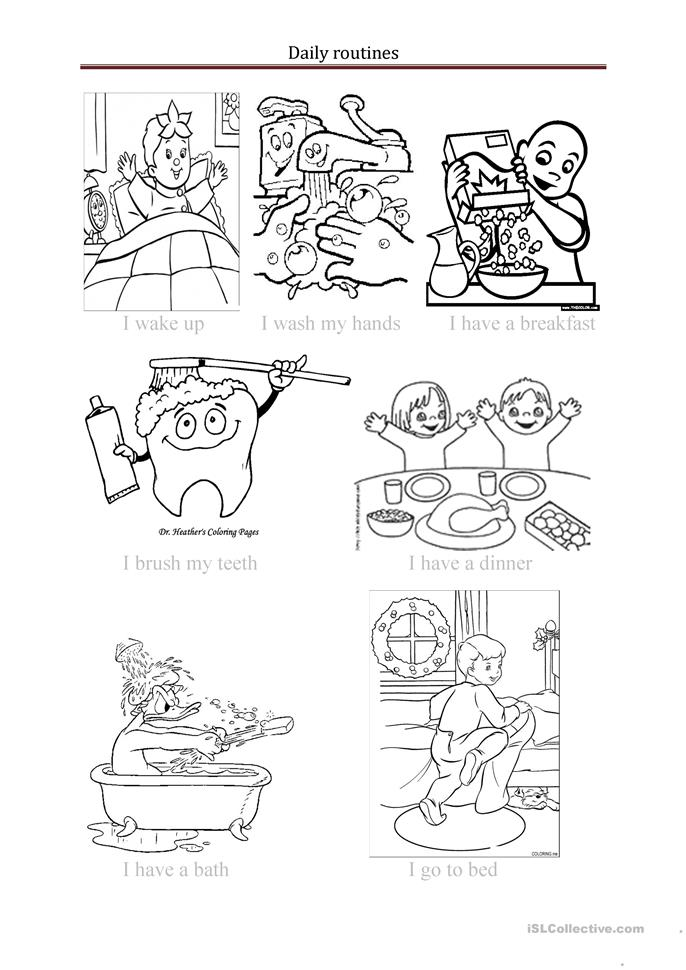 Coloring Pages Daily Activities : Daily routines worksheet free esl printable worksheets