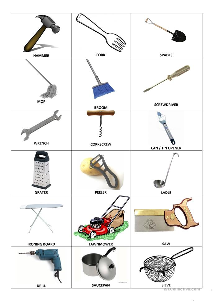 Household objects and inventions worksheet free esl for Household items for new house
